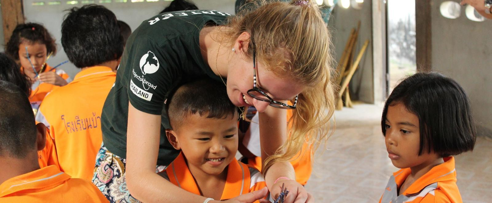 A Projects Abroad volunteer who works with children enjoys her volunteer placements abroad.